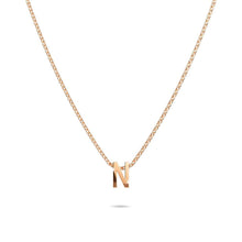 Load image into Gallery viewer, Initials Brick Alphabet Letter Necklace Rose Gold Layered Steel Jewellery - N - Brilliant Co