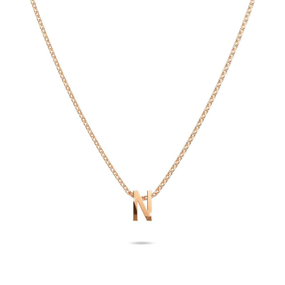 Initials Brick Alphabet Letter Necklace Rose Gold Layered Steel Jewellery - N - Brilliant Co
