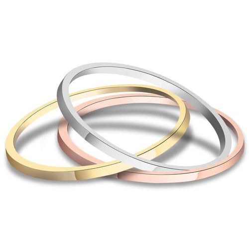 3 Pieces Tri-Color Stackable Ring Set