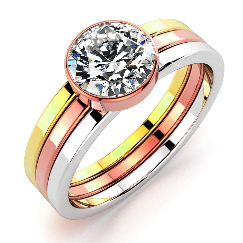 Britney Tri-Tone Stackable Ring - Brilliant Co