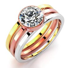 Load image into Gallery viewer, Britney Tri-Tone Stackable Ring - Brilliant Co