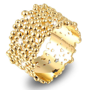 CZ Bubbles Splash Texture Fancy Gold Layered Ring - Brilliant Co