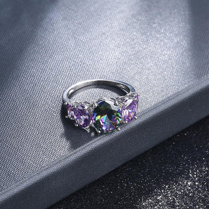 Five Colourful Stone Baguette setting White Gold Layered Band Ring - Brilliant Co