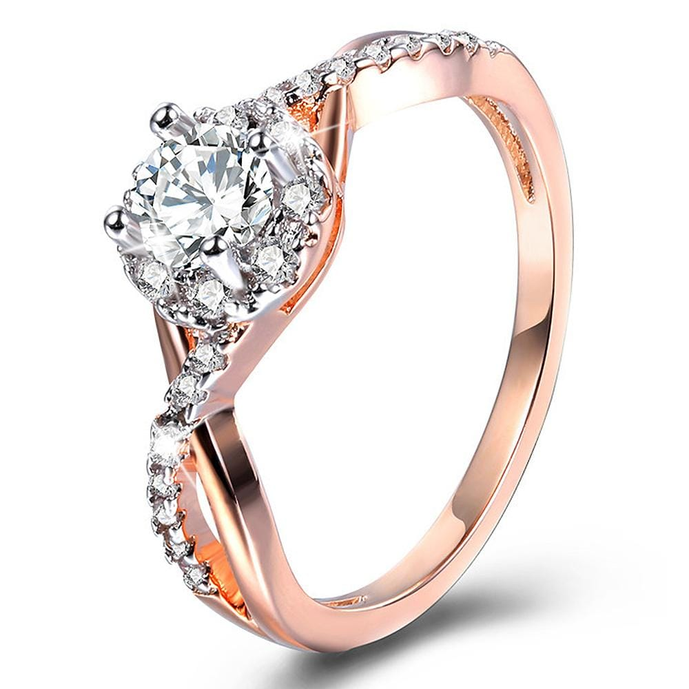 Created Diamonds Classic Setting Rose Gold Layered Band Ring - Brilliant Co
