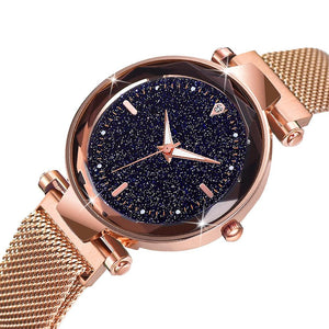 Bullion Gold Sparkly Black Glass Rose Gold Watch Embellished with Rhinestone