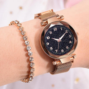 Bullion Gold Sparkly Black Glass Rose Gold Watch