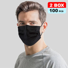 100Pk 3 Layer Protective Disposable Single Packing Face Masks - Black - Brilliant Co