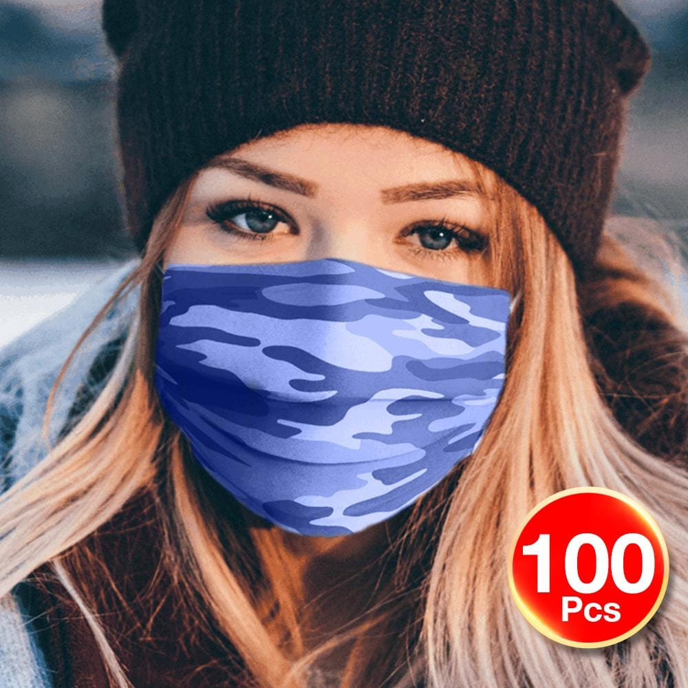 100Pk 3 Layer Protective Disposable Single Packing Face Masks - Blue Camo - Brilliant Co