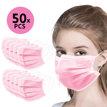 Load image into Gallery viewer, 50Pk 3 Layer Protective Disposable Single Packing Face Masks - Pink - Brilliant Co