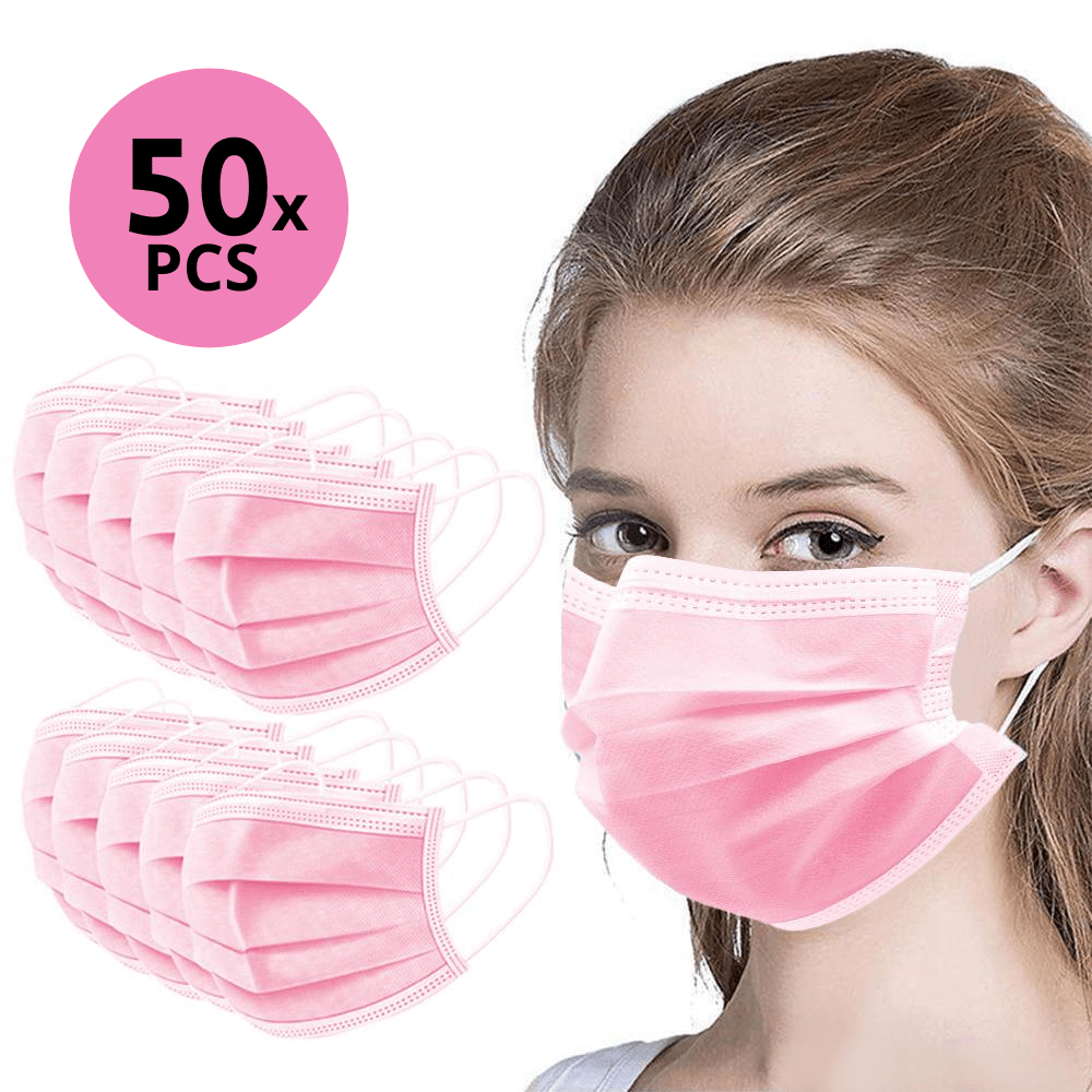 50Pk 3 Layer Protective Disposable Single Packing Face Masks - Pink - Brilliant Co