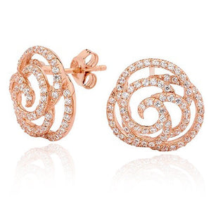 Paloma Rose Gold Rose Stud Earrings - Brilliant Co