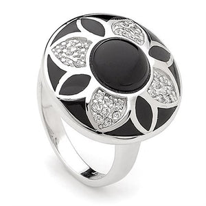 Black Enamel Flower Ring - Brilliant Co