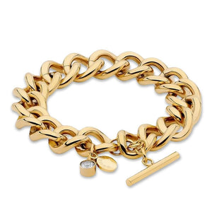 Crystal Drop Curb Chain Gold Bracelet