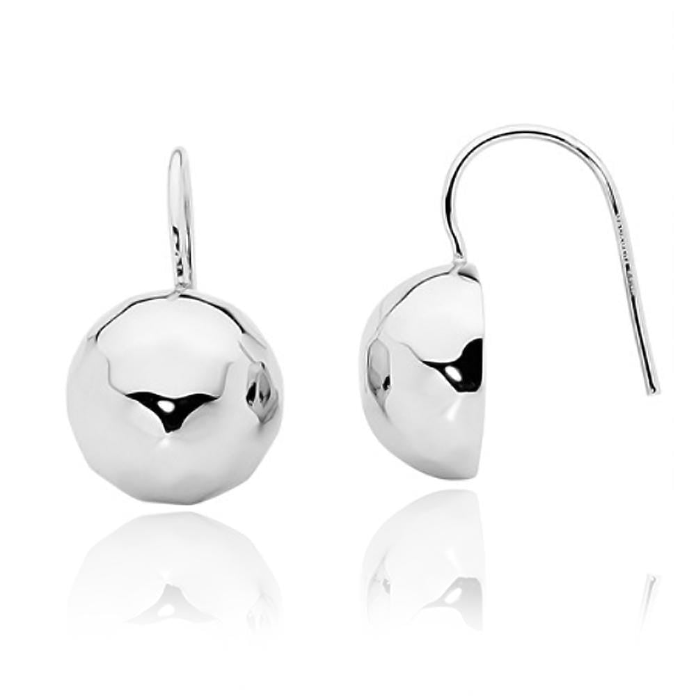 Silver Faceted Round Hook Earrings