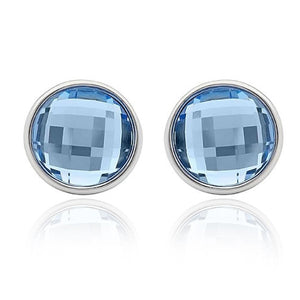 Crystal Round Stud Earrings Pale Blue