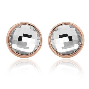 Crystal Round Stud Earrings Clear Rose Gold - Brilliant Co