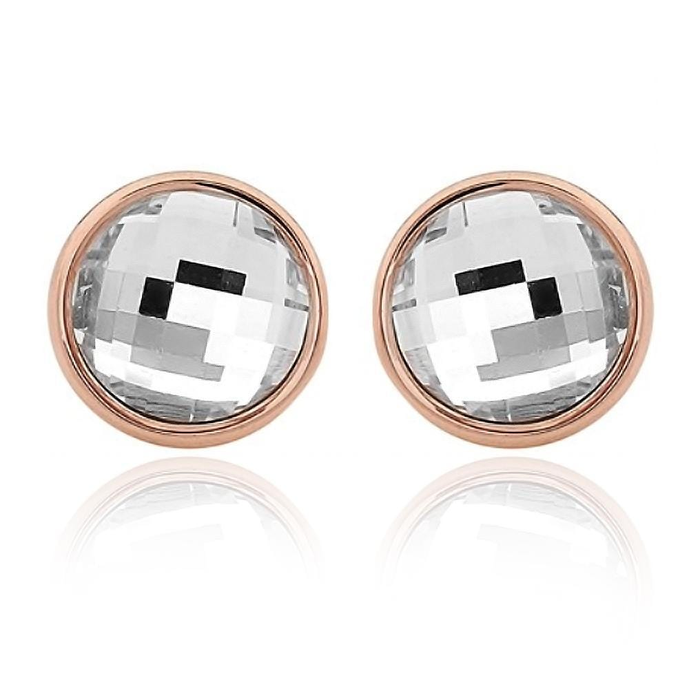 Crystal Round Stud Earrings Clear Rose Gold