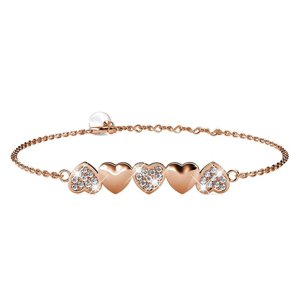 Rose Gold Alternate Upside Down Heart-Shaped Bracelet Embellished with Swarovski® Crystals - Brilliant Co