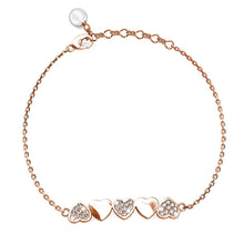 Load image into Gallery viewer, Rose Gold Alternate Upside Down Heart-Shaped Bracelet Embellished with Swarovski® Crystals - Brilliant Co