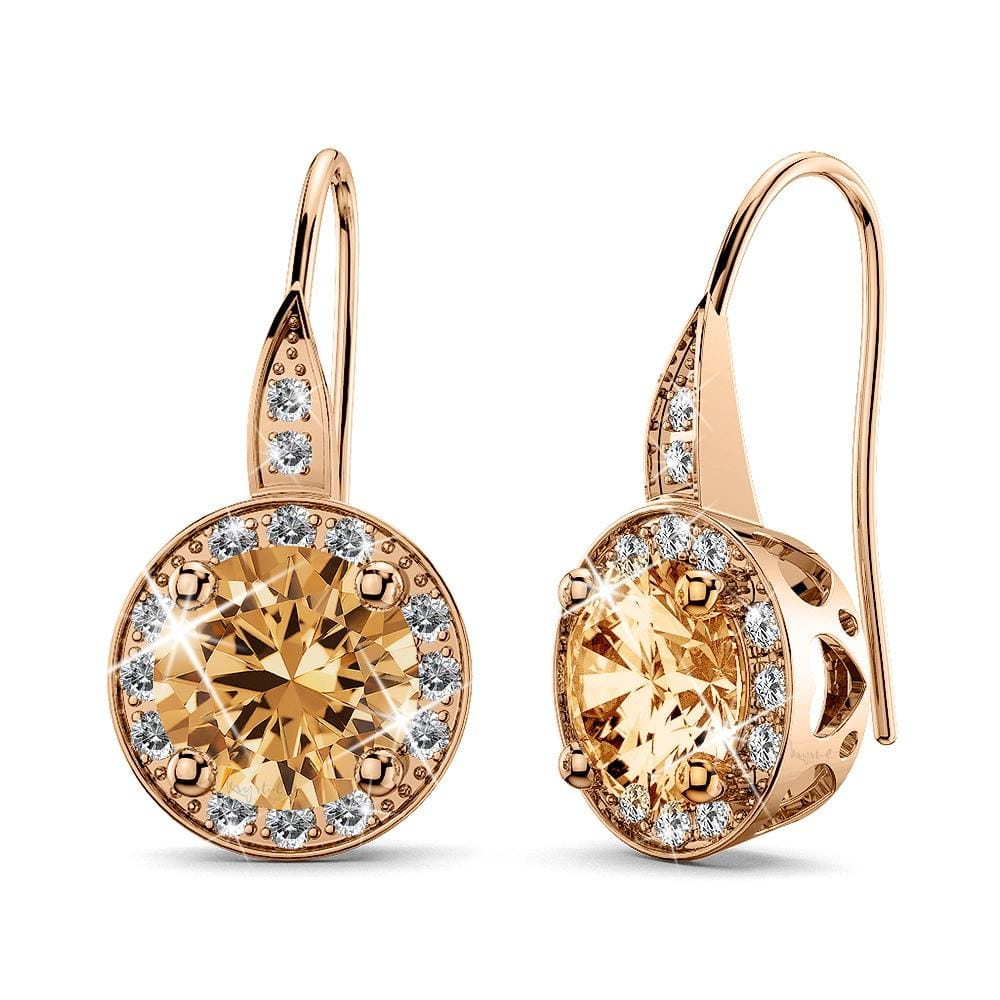 Halo Hook Back Earrings Embellished with Swarovski crystals - Brilliant Co