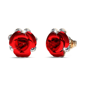 Red Roses Studs Embellished with Swarovski crystals - Brilliant Co