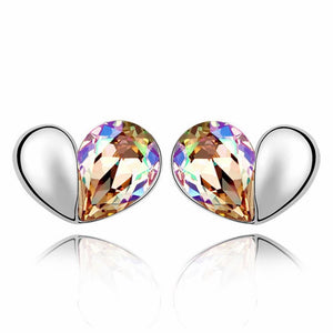 Heart 2 Heart Earrings Embellished with Swarovski crystals - Brilliant Co