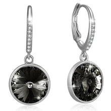 Precious Drop Earrings Silver Night Embellished with Swarovski crystals