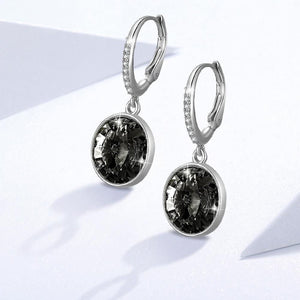 Precious Drop Earrings Silver Night Embellished with Swarovski crystals - Brilliant Co