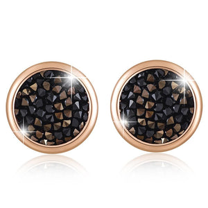 Glitzy Stud Earrings Jet Nut Embellished with Swarovski crystals