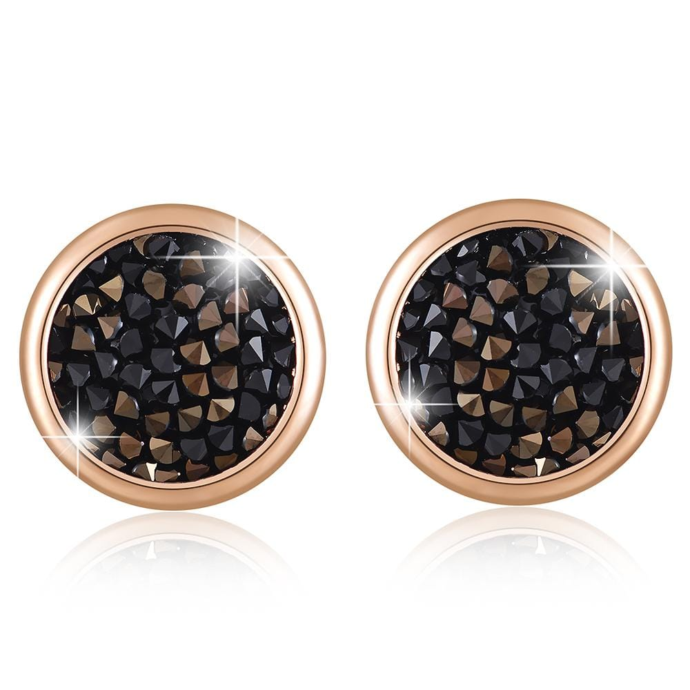 Glitzy Stud Earrings Rg Jet Nut Ft Crystals From Swarovski