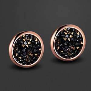 Glitzy Stud Earrings Jet Nut Embellished with Swarovski crystals - Brilliant Co