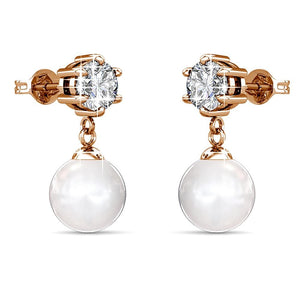Margaux Drop Earrings Embellished with Swarovski crystals and Pearls - Brilliant Co