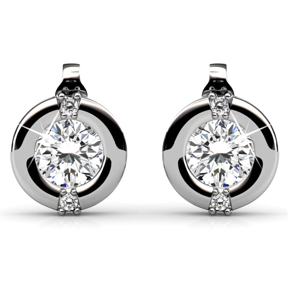 Millionaire Circle Stud Earrings Embellished with Swarovski crystals - Brilliant Co