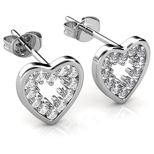 Classy Heart Stud Earrings Ft. Crystals From Swarovski
