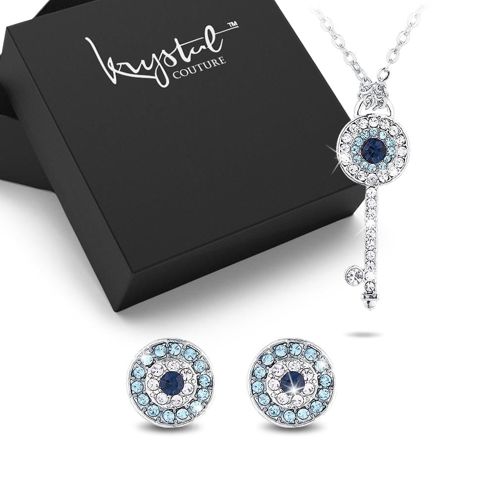 Boxed Circe Key Necklace and Earrings Set - Brilliant Co