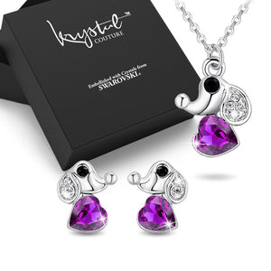 Boxed Cute Elephant Necklace and Earrings Set Embellished with Swarovski Crystals - Brilliant Co