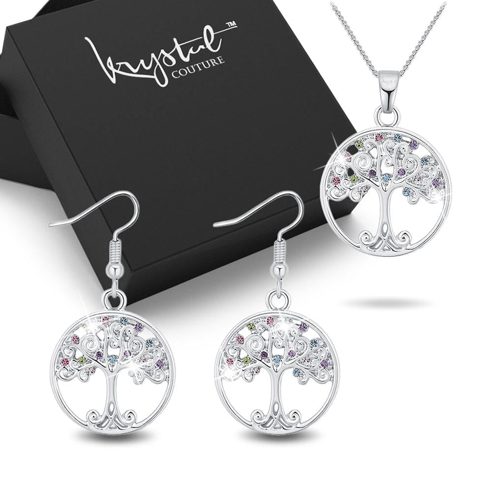 Boxed Mysterious Tree Necklace and Earrings Set - Brilliant Co
