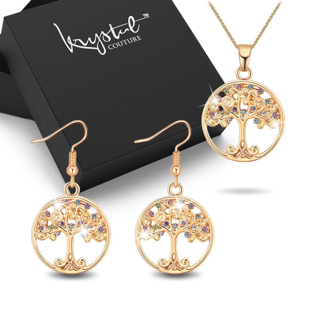 Boxed Acacia Tree Necklace and Earrings Set - Brilliant Co