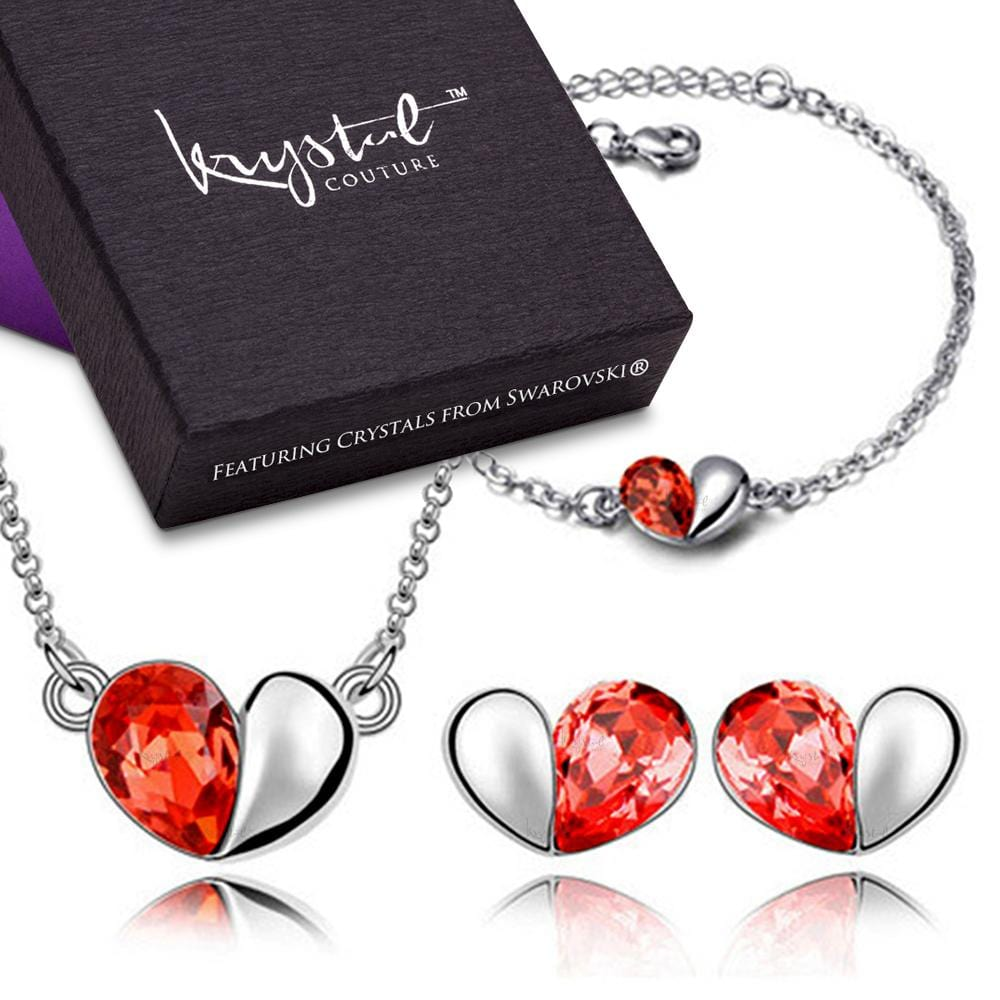 Heart 2 Heart Bracelet, Necklace and Earrings Set Embellished with Swarovski crystals - Brilliant Co