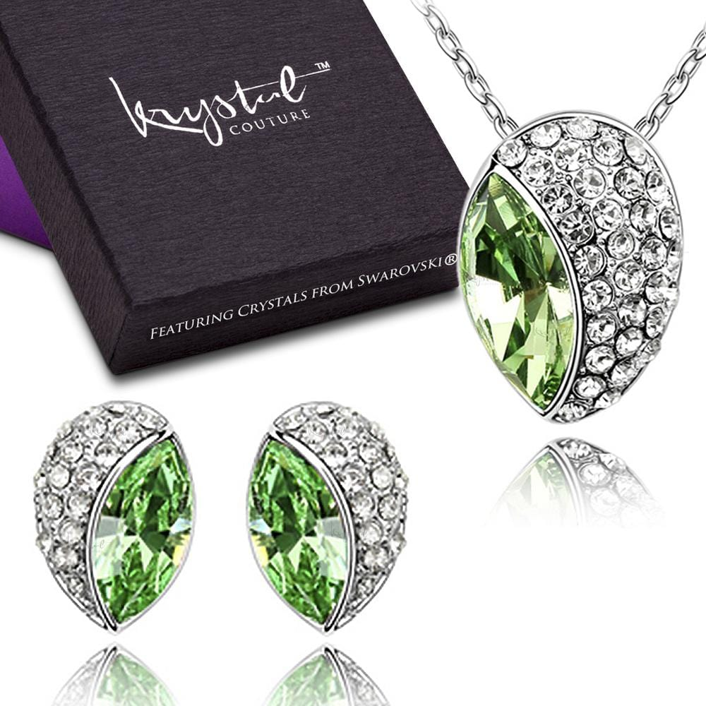 Avocado Necklace and Earrings Set Embellished with Swarovski crystals - Brilliant Co