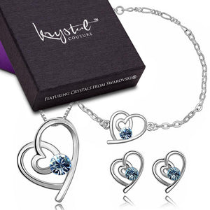 Tayla Swift Bracelet, Necklace and Earrings Set Blue Embellished with Swarovski crystals - Brilliant Co