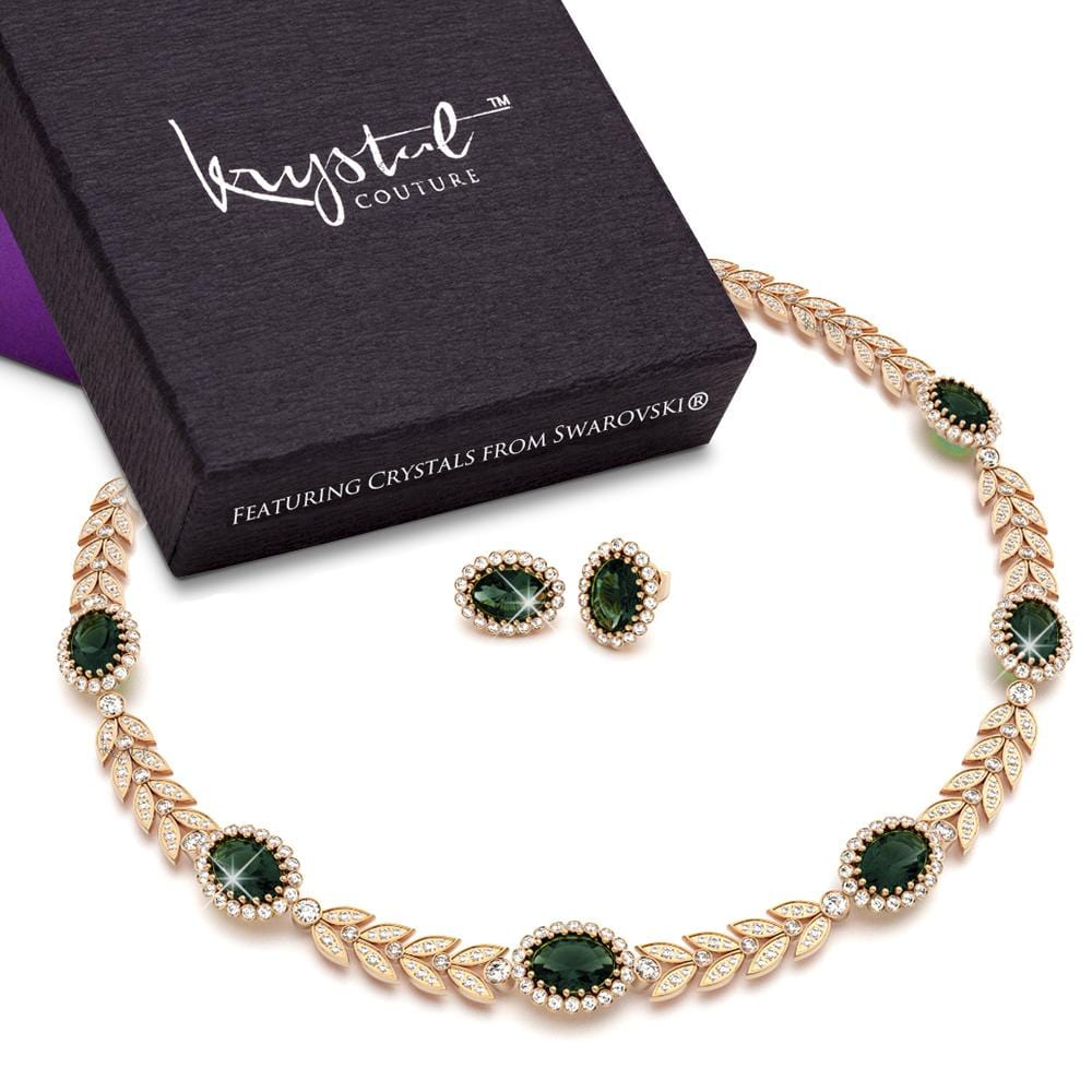Georgina Necklace and Earrings Set Emerald Embellished with Swarovski crystals - Brilliant Co