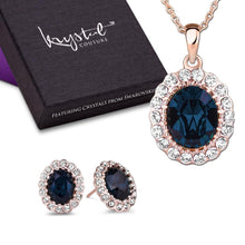 Gina Sapphire Pendant and Earrings Set Embellished with Swarovski crystals - Brilliant Co