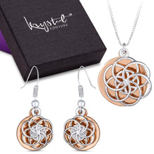 Discus Necklace and Earrings Set Embellished with Swarovski crystals - Brilliant Co