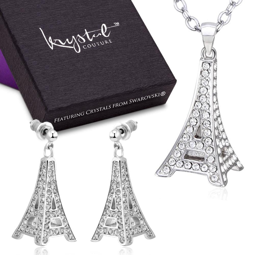 The Eiffel Tower Necklace & Earrings Set Featuring Crystals From Swarovski - Brilliant Co