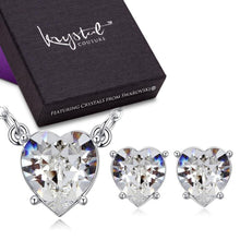 Boxed Heart Dazzle Necklace And Earrings Set Embellished with Swarovski crystals - Brilliant Co