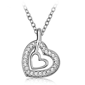 Heart In Heart Necklace Embellished with Swarovski crystals - Brilliant Co
