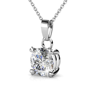 Solitaire Pendant Necklace Embellished with Swarovski crystals - Brilliant Co