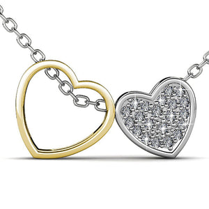 Heart Duo Pendant Necklace Embellished with Swarovski crystals