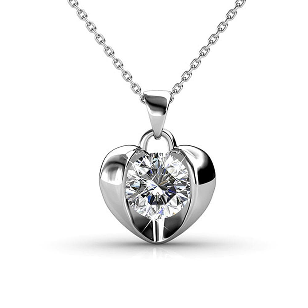 Diamond Heart Necklace Embellished with Swarovski crystals